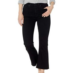 Hudson cropped high waisted black flare jeans